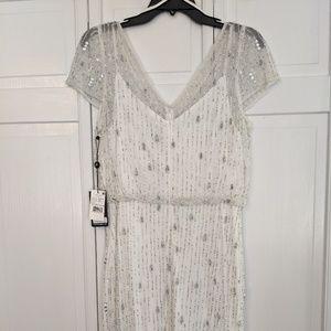 Adrianna Papell White Beaded Dress
